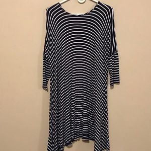 Blue and White Striped Long Sleeved Fall Dress